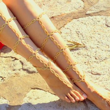Gold Barefoot Sandals,Gladiator Inspired Crochet Sandals,Legwear, Sexy Foot Anklet, Toe Ring, Yoga, Foot Thongs, Nude Shoes,