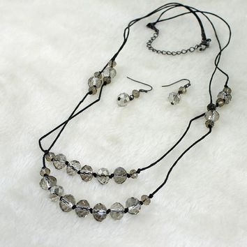 New Japan and South Korea Jewelry Korea Glass Crystal Earrings Set Necklace Female Black Clavicle Chain Gift Box KY