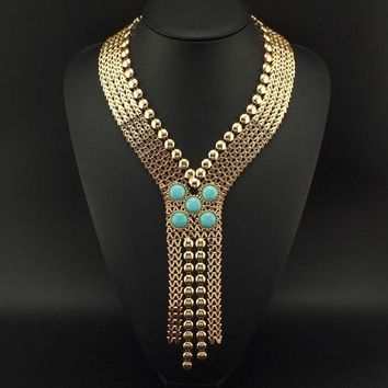 Ancient Chunky Statement Necklace Gold Tone Egyptian Jewelry