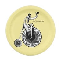 Model T Penny Farthing Classic - Black and White Paper Plate