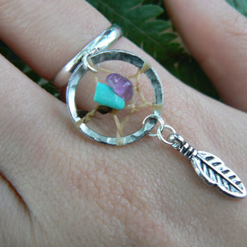 turquoise and amethyst dreamcatcher ring  in boho gypsy hippie hipster native american inspired  and tribal style
