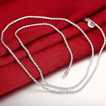 """Men's Women's 14K Sterling Silver 925 Plated Thin Short Rope Chain Necklace 24"""""""