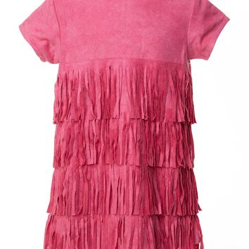 Cach Cach Twirl in Fringe Hot Pink Suede Dress
