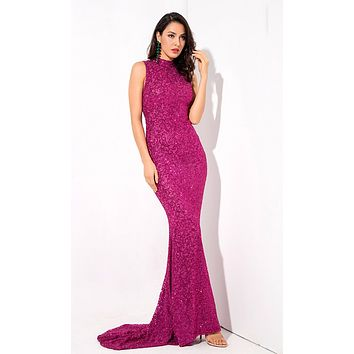 Always Sparkling Rose Red Glitter Swirl Pattern Sleeveless Mock Neck Mermaid Maxi Dress