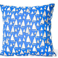 Blue Throw Pillow, Sail Boat Pillow Cover, Throw Pillow, Cushion Cover, Royal Blue, Blue, White, Nautical, Boat, 18x18