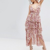 Boohoo Paisley Layered Ruffle Maxi Dress at asos.com