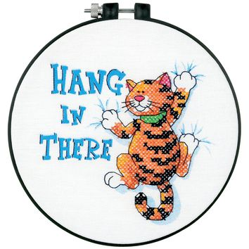 "Hang In There Dimensions/Learn-A-Craft Stamped Cross Stitch Kit 6"" Round"