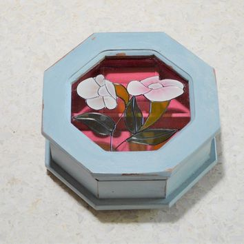 Light Blue Jewelry Box with Painted on Glass Flowers and Pink Velvet Interior