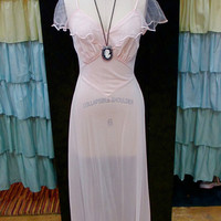 1970s Pale Pink Floor Length Form Fitting Slinky Nightgown with Sheer Ruffles and Scalloped Trim