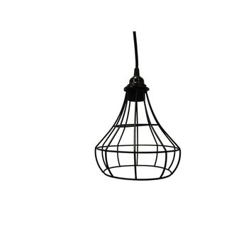 Industrial Cage Style Lampshade For Pendant Light Lamps, Black