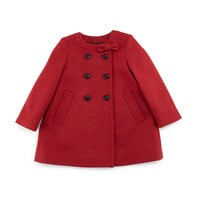 Rose Double-Breasted Wool-Blend Coat, Cherry, Size 3M-3Y,