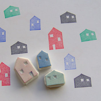 House stamp, set of 3, houses stamps, house carved rubber stamp, little houses, stamp set, rubber stamp, card making, village house stamp