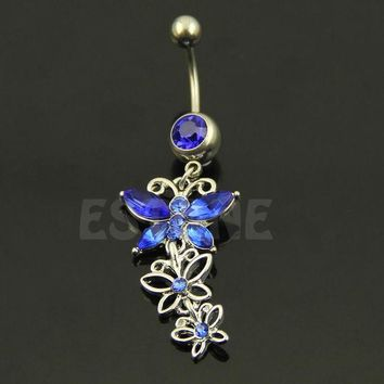 ac DCCKO2Q Butterfly Belly button ring Body piercing Jewelry Dangle Crystal Gem 14G 316L surgical steel bar Nickel-free