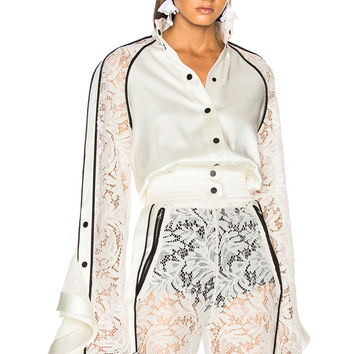 David Koma Lace Sleeve Ruffle Jacket in White & Black | FWRD