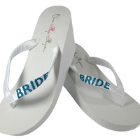 Turquoise Bride Bling Flip Flops for the Wedding- White or Ivory Wedges