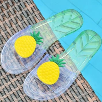 New summer crystal pineapple transparent slippers room women's shoes