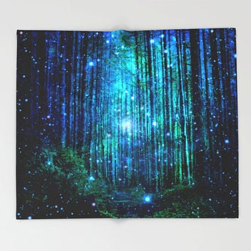 Magical Forest Throw Blanket/Throw Blanket/Forest throw blanket/Soft throw blanket/Super soft blanket/Blanket/Teal blanket/Bedroom decor