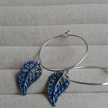 closing sale - Blue glitter Leaf silvertone Creole Hoop Earrings
