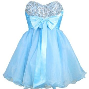 Faironly Stock Mini Short Quinceanera Homecoming Dress (XS, Turquoise)