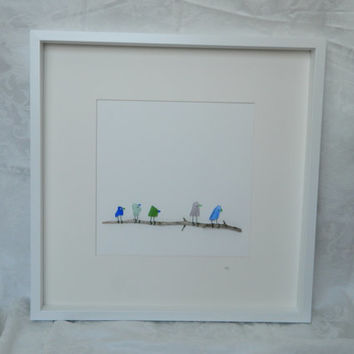 """Five Colored Sea Glass Birds on Branch in framed 20""""x 20"""" shadow box"""