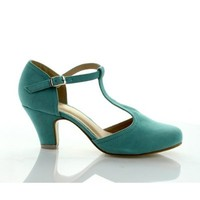 BE INTOUCH MINA-2 Women's T-strap Round Toe Chucky Heel Pumps