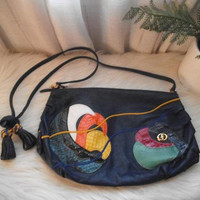 Vintage 80s Abstract Leather Purse ~ Navy ~ colorful ~ Ruched ~ With Tassels ~ Crossbody ~ clutch