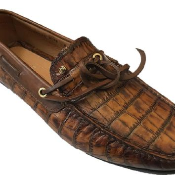Santoni Men's Croc Embossed Leather Loafers