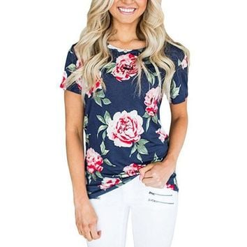 Blue Flower Printing Fashion Short-Sleeved T-Shirt