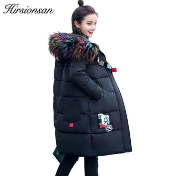 Hirsionsan Winter Jacket Women 2017 Colorful Big Faux Raccoon Fur Coats Down Cotton Hooded Parkas Patch Design Warm Outwears