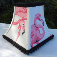 Chandelier Pink Flamingo Lampshade on Off White Cotton Fabric Mini Square Bell Frame  Black Grosgrain Ribbon and Mini Pom Pom Ball Trim