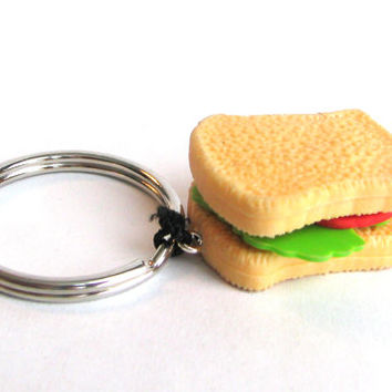 Sandwhich Keychain - Toy Keychain - Toy Zipper Pull - Kawaii Keychain - Kitsch Keychain - Gag Gift - Gifts Under 10 - Miniature Food