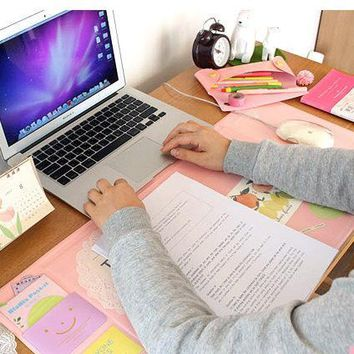 Cute rainbow office school multi function Monthly Desk Pad stationery,Kawaii leather desk stationery organizer holder 705*320mm