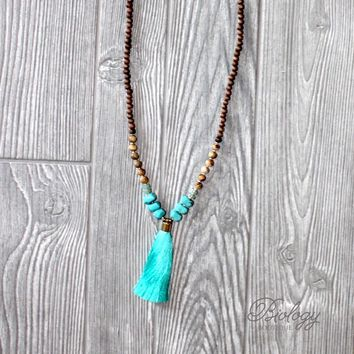 Wood Bead and Natural Stone Tassel Necklace