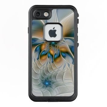 Soaring, Abstract Fantasy Fractal Art With Blue LifeProof® FRĒ® iPhone 7 Case