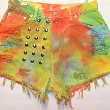 Vintage Levis High Waist Tie-Dyed Denim Shorts with Studs Waist 30 inch
