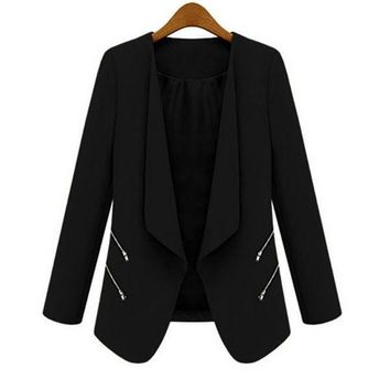 New Women Ol Long Sleeve Slim Lapel Blazer Suits Jackets Casual Open Coats Blazers Outwear Terno 3 Colors