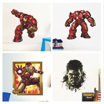 newest 4 popular cartoon captain the avenger iron man wall stickers for kids room wall art decor pvc diy decals birthday gifts