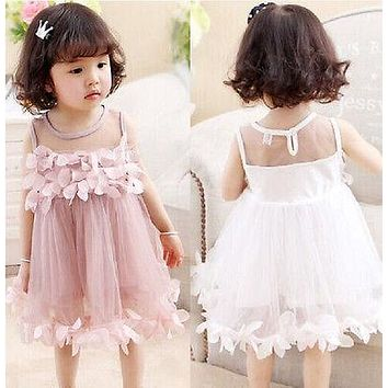 Flower Kids Baby Girl Princess Bridesmaid Petal Tulle Party Formal Dress Dresses