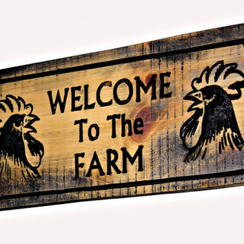 Wood Farm Sign - Engraved Wood Sign - Custom Welcome Sign