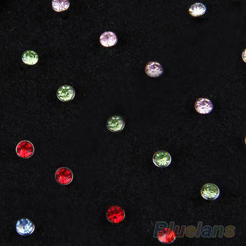 Indian style 60pcs/set Crystal Rhinestone Nose Ring Bone Stud Surgical Steel Body Piercing Jewelry  02U5