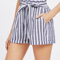Paperbag Waist Self Belted Paperbag Shorts
