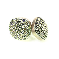 Sterling Silver Marcasite Earrings, Pave Set Square Cube Shaped Pierced Studs, Vintage Marcasite Jewelry, Judith Jack Style