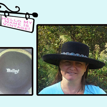 Vintage Bailey Black Felt Western Cowgirl Hat- Rodeo Girl- Turquoise Concha Band- Country Woman Accessory- Vintage Bohemian Style- Gypsy Hat