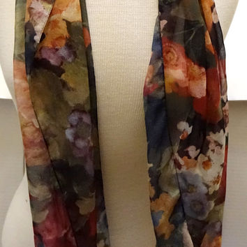 Ladie's Sheer Scarf | Vintage long Scarf | ladies accessory | neck scarf |Made in Italy | poly