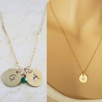 Mom Jewelry, Personalized Gold Disc Necklace, Initial Necklace, Simple Gold Necklace, Monogram Necklace, Bridesmaids Necklace, just1gold