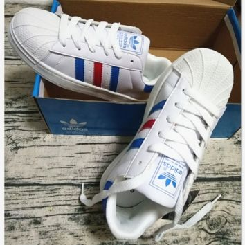 "Summer11""Adidas"" Fashion Shell-toe Flats Sneakers Sport Shoes White (blue red line)"