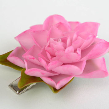 Beautiful designer flower hair clip created of cold porcelain Lotus