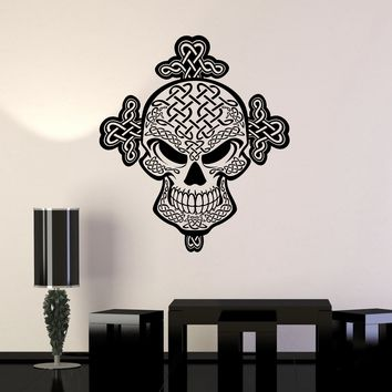 Vinyl Wall Decal Celtic Skull Knot Irish Pattern Ireland Art Decor Stickers Mural Unique Gift (ig5073)