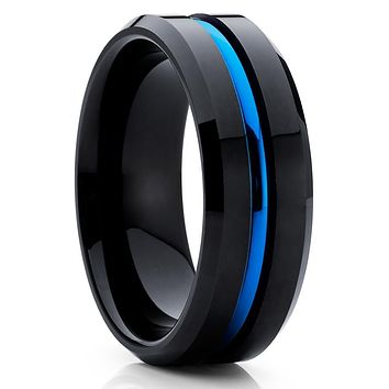 Men's Wedding Band - Black Tungsten Ring - Blue Band - Tungsten Ring