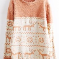 Deer & Snowflakes Print Fluffy Sweater